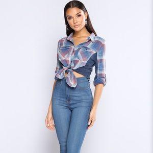 Fashion Nova Blue/Red Flannel Small